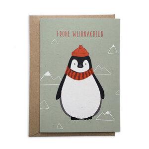 Weihnachtskarte Pinguin aus Recyclingpapier - TELL ME
