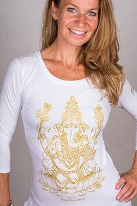 "Yoga Longsleeve ""Ganesha"" weiß/gold - YogiCompany"