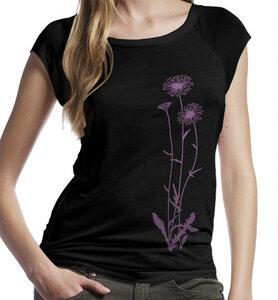 Blumen Bambus-T-Shirt / Top in Schwarz & Violet - Picopoc