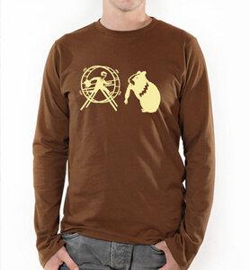 Hamster und der Hamsterrad in Braun und Beige / Langarm T-Shirt - Picopoc