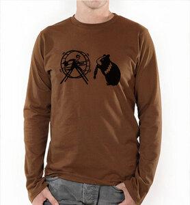 Langarm T-Shirt Hamster und der Hamsterrad in Braun & Schwarz - Picopoc