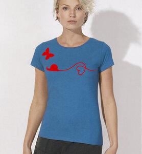 Schnecke & Schmetterling T-Shirt  für Frauen in blau & rot - Picopoc