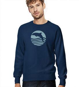 Sonnenuntergan mit Delfin, Sweatshirt für Männer in Navy Blau - Picopoc