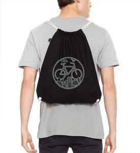 Turnbeutel Fahrrad / Gym Bag / Rucksack in Schwarz & Weiß aus Biobaumwolle - Picopoc