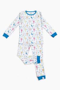 "Pyjama aus Bio-Baumwolle ""Papageien"" Blau, OceanBluu - OceanBluu"