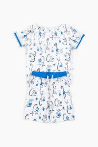 "Pyjama aus Bio-Baumwolle ""Lemuren"" Blau, OceanBluu - OceanBluu"