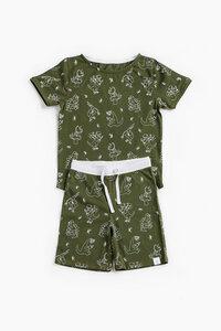 "Pyjama aus Bio-Baumwolle ""Beschäftigte grüne Dinos"" OceanBluu - OceanBluu"