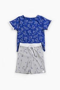 "Pyjama aus Bio-Baumwolle ""Haifisch"" Blau, OceanBluu - OceanBluu"