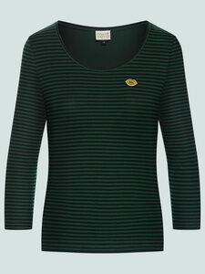 That's me - gestreiftes Langarmshirt aus Bio-Baumwolle, schwarz-grün - Mademoiselle YéYé