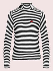 Stand Up - gestreifter Turtleneck aus Bio-Baumwolle, schwarz-weiß - Mademoiselle YéYé