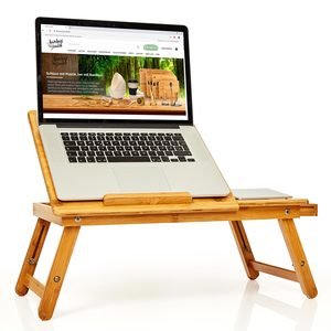 Laptoptisch aus Bambus 24x55x33 cm Beistelltisch mit praktischem Fach - Bambuswald