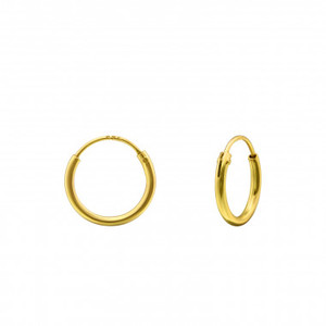 Kleine Creolen Ohrringe (12mm)- 925er Sterling Silber - Gold  - LUXAA