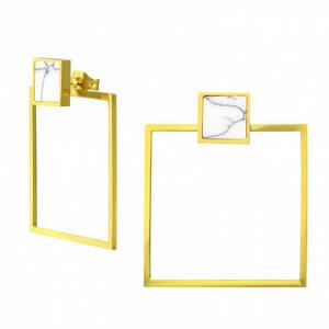 Doppel Ohrstecker Quadrat aus Edelstahl - Gold - LUXAA