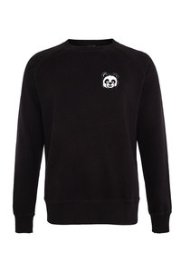 Fair gehandelter Panda Unisex Raglan Sweater grey/black ILP01 - ilovemixtapes