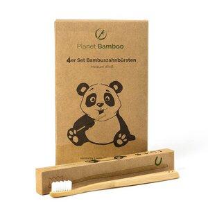 Bambus Zahnbürsten (4 Stück   Medium-Soft) - Planet Bamboo
