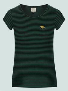 Casual Elegance - gestreiftes Shirt aus Bio-Baumwolle, schwarz-grün - Mademoiselle YéYé