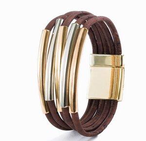 Armband aus Kork mit Gold und Silberfarbenen Schmuckelementen – vegan - Artelusa