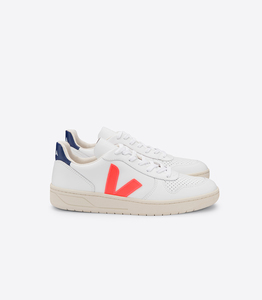 Sneaker Damen - V-10 Leather - Extra White Orange Fluo Cobalt - Veja
