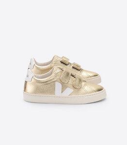 Sneaker Kinder - Junior Small Esplar Velcro Leather - Gold White - Veja