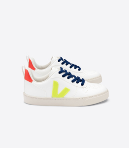 Sneaker Kinder Vegan - Junior Small V-10 Lace CWL - White Jaune Fluo Orange Fluo - Veja