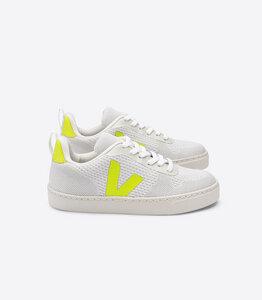 Sneaker Vegan - Junior Small V-10 Malha - Branco Aluminio Jaune Fluo - Kids - Veja