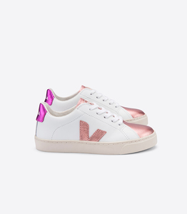 Sneaker- Junior Small Esplar Kids Leather - Extra White Nacre Fushia - Veja