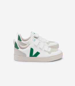 Sneaker Kinder Vegan - Junior Small V-10 Velcro CWL - White Emeraude - Veja