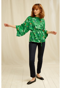 People Tree V&A Bamboo Print Top Green Multi - People Tree