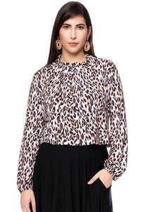 LESLY Blusenshirt aus seidigem Modal Jersey (Leo Print) - Ingoria