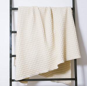 Wolldecke 100% Merino Design-Wohndecke im Waffelpiqué gewebt weiss  - Perelic