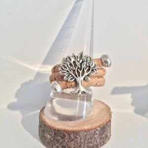 Lebensbaum - Korkring Natur mit silber Charms. Größen verstellbar - Living in Kork