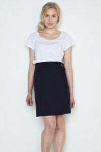 dunkelblauer Wickelrock Cara aus Biomerinowolle - Susan's Fashion