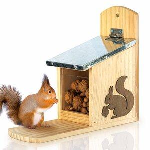 Futterhaus für Eichhörnchen - Futterstelle / Futterkasten - wetterfest - Skojig