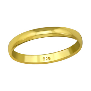 Klassischer  Ring aus 925er Sterling Silber - Gold - LUXAA