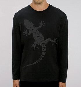 Gecko Langarm T-Shirt für Männer in Schwarz & Grau - Picopoc