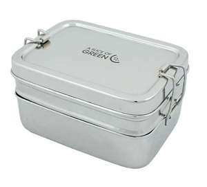 Lunchbox Brotbox Food Canister Edelstahl Doppeldecker Panna  - A Slice of Green