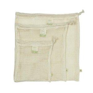 Wiederverwendbare Lebensmittelbeutel 3er Set Netz-Baumwolle GOTS - A Slice of Green