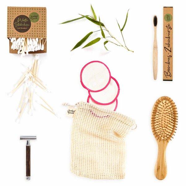 Geschenk-set: Wattestäbchen Rasierer Haarbürste Zahnbürste Makeup-pads