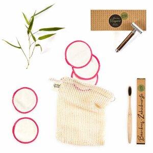 Geschenk-Set: Nassrasierer, Zahnbürste & Make-Up Pads #plastifkrei - Bambuswald
