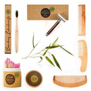 Nachhaltiges Geschenk: Haarkämme Nassrasierer Zahnbürste Wattestäbchen - Bambuswald