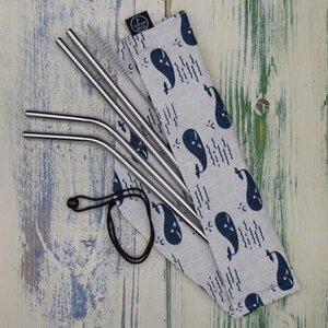Edelstahl Trinkhalm Set mit Tasche und Reinigungsbürste - Oceantale