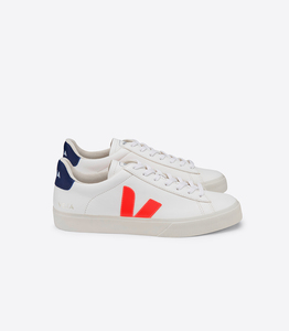Sneaker Damen - Campo Easy Chromefree Leather - Extra White Orange Fluo Cobalt - Veja