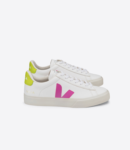 Sneaker Damen Campo Easy Chromefree Leather Extra White Ultraviolet Jaune Fluo