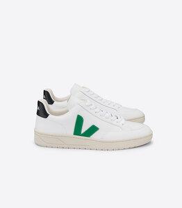 Sneaker Damen - V-12 Leather Extra White Emeraude Black - Veja