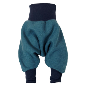 Yogahose Sarouelhose Pumphose Wolle petrol/dunkelblau, petrol/hellgrün - liebewicht