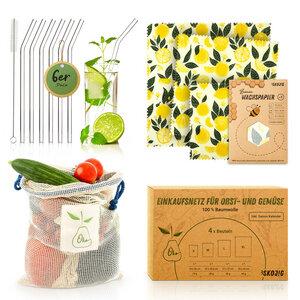 Plastikfrei - Set : Glasstrohhalme, Bienenwachspapier & Einkaufstasche - Bambuswald