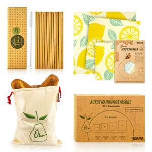Plastikfrei - Set : Strohhalme, Bienenwachspapier & Einkaufstasche - Bambuswald