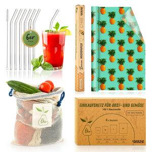 Plastikfrei - Set : Glasstrohhalme, Bienenwachspapier & Einkaufsnetze - Skojig