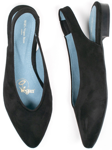 Slingpumps Schwarz vegan Wildleder Damen - Will's Vegan Shop