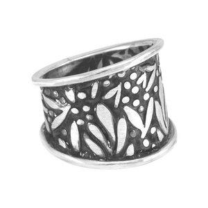 Ring Silber florales Blattmuster Herbst handmade modern Fair-Trade - -